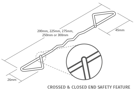 125mm Cavity 250 Pack TT2 General Purpose Housing Wall Ties 225mm for 101mm